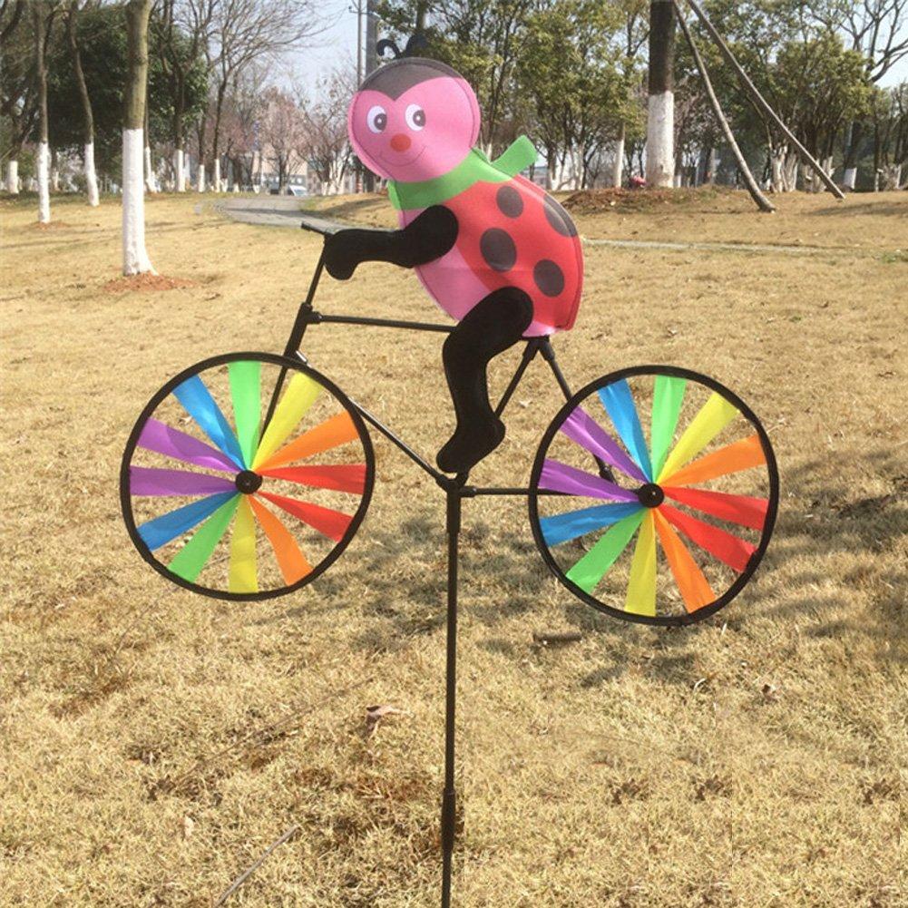 ECMQS graziosi animali 3D sulla bicicletta, mulino a vento, girandola, decorazione per il giardino e il prato