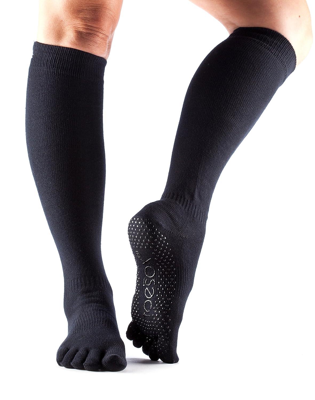 ToeSox Scrunch Women's Full Toe Grip Socks (Black) Small
