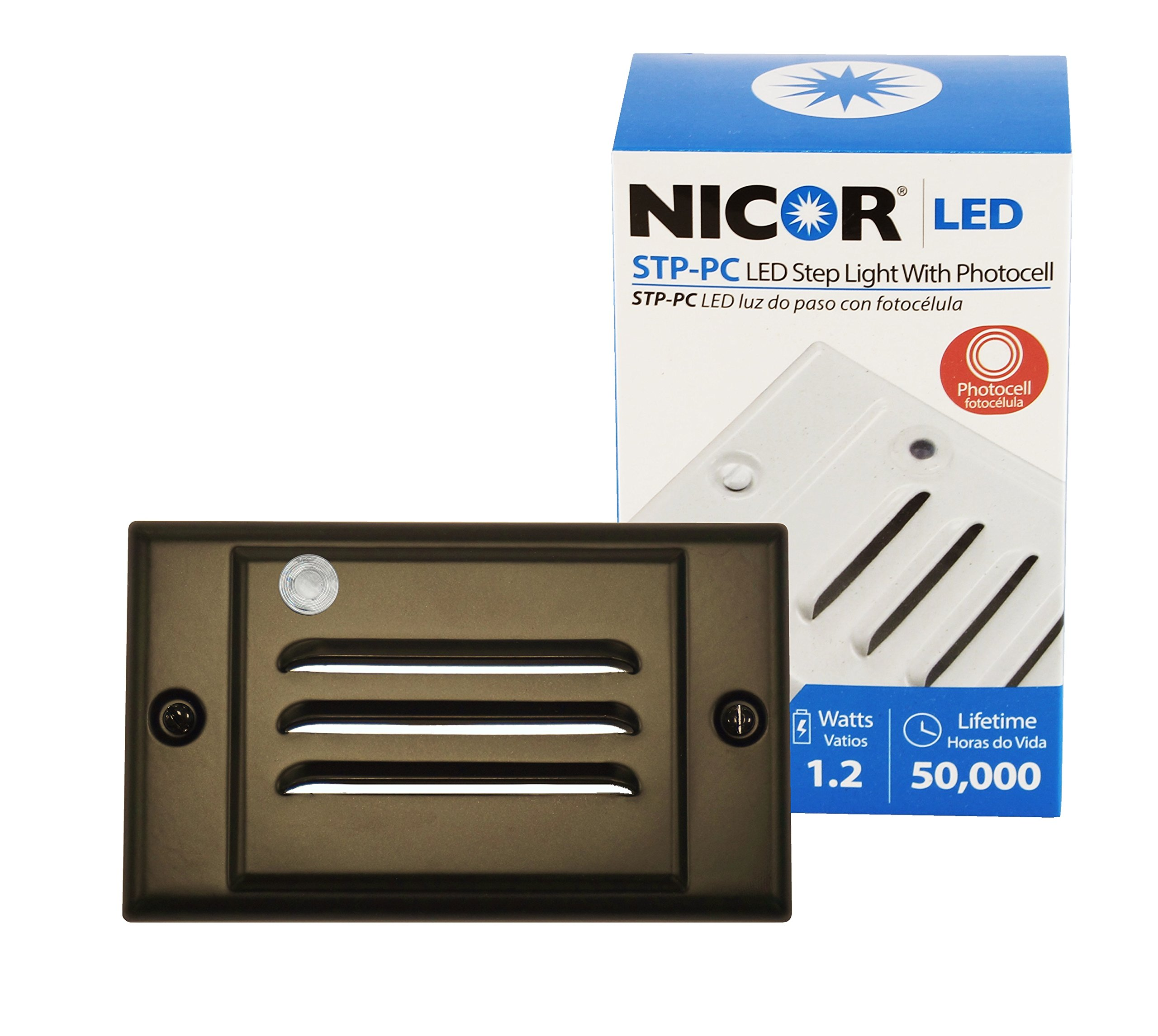 NICOR Lighting LED Step Light with Photocell Sensor and Horizontal Faceplate, Oil-Rubbed Bronze (STP-10-120-HOB-PC)