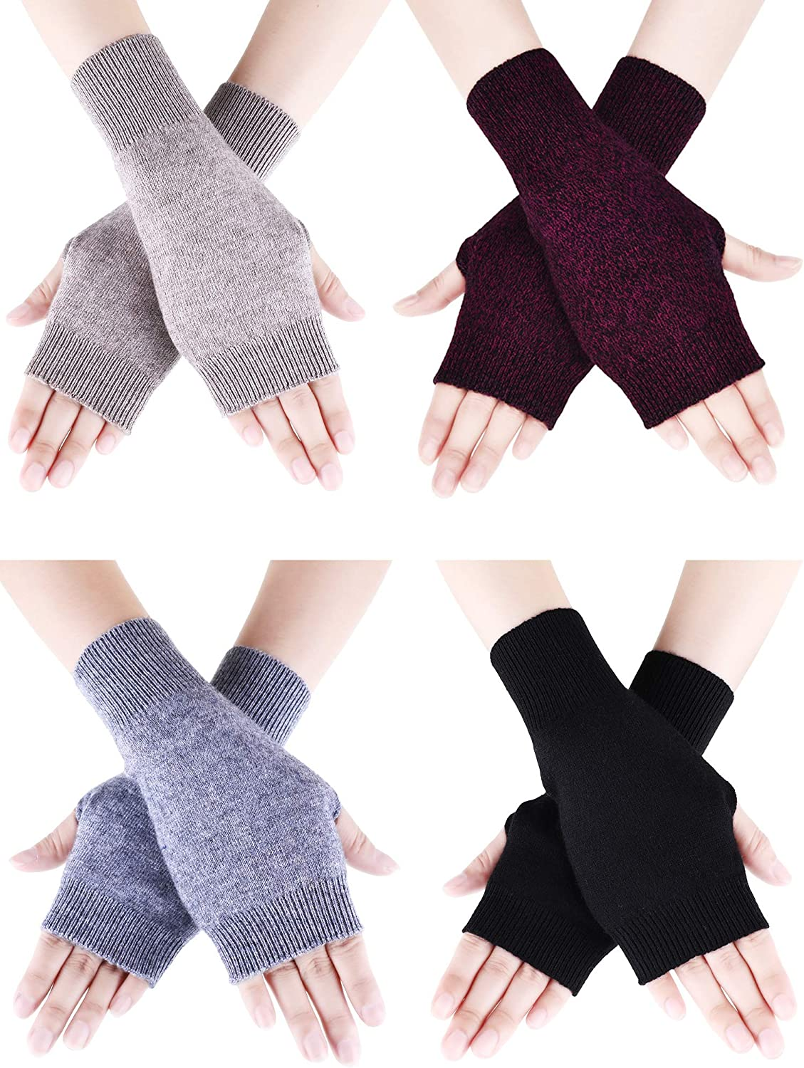 Tatuo 4 Pairs Cashmere Feel Fingerless Gloves with Thumb Hole Warm Gloves for Women and Men (Black, Dark Gray, Camel, Purple)