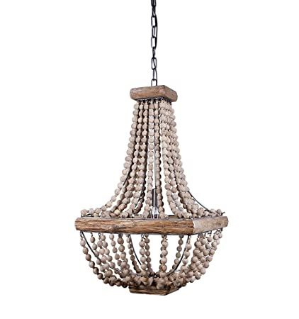 Creative Co Op Metal Chandelier With Wood Beads, 16.5u0026quot; Square By  28u0026quot;
