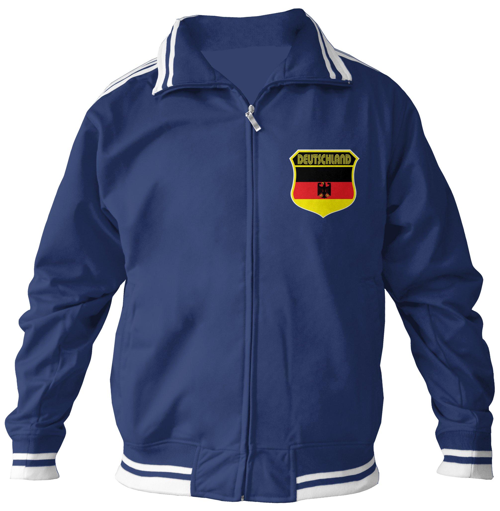Amdesco Men's German Pride, Deutschland Germany Track Jacket, Navy XL