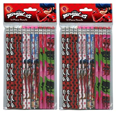 Miraculous Ladybug 24pk Pencils in Poly Bag with Header- 2 DZ: Toys & Games
