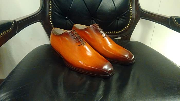 2ec03ab16ba6 Amazon.com  Handmade Cognac Patina Whole Cut Oxfords For Men Custom Made  Shoes for Men  Handmade