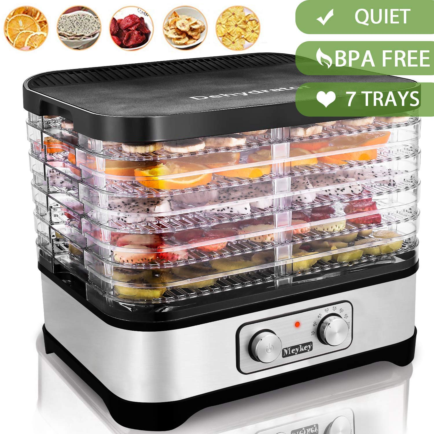 Food Dehydrator Machine Jerky with 7 Trays, Knob Button/250Watt by Hopekings (Image #1)