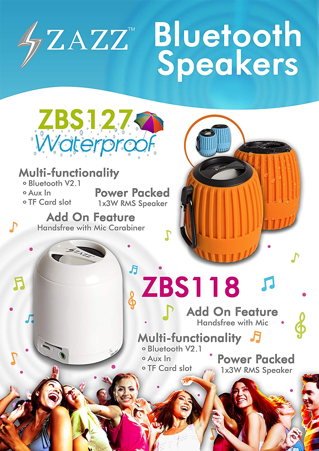 Blue ZAZZ Portable Waterproof Bluetooth Speaker with Clip-on tablets Rich Bass and Noise Cancelling Speakerphone Louder Volume compatible with smartphone