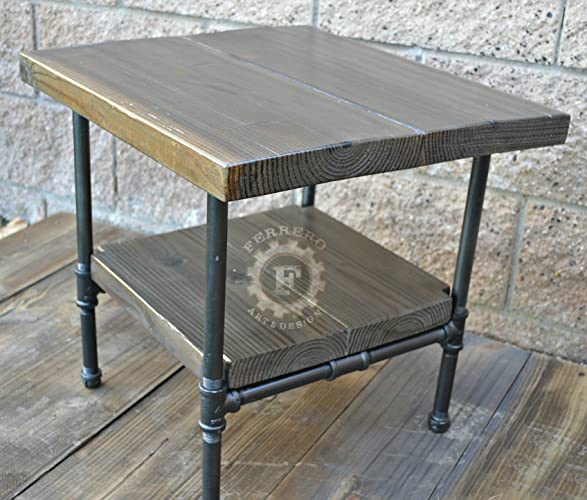 Steampunk Table Industrial Nightstand Decor Side Rustic