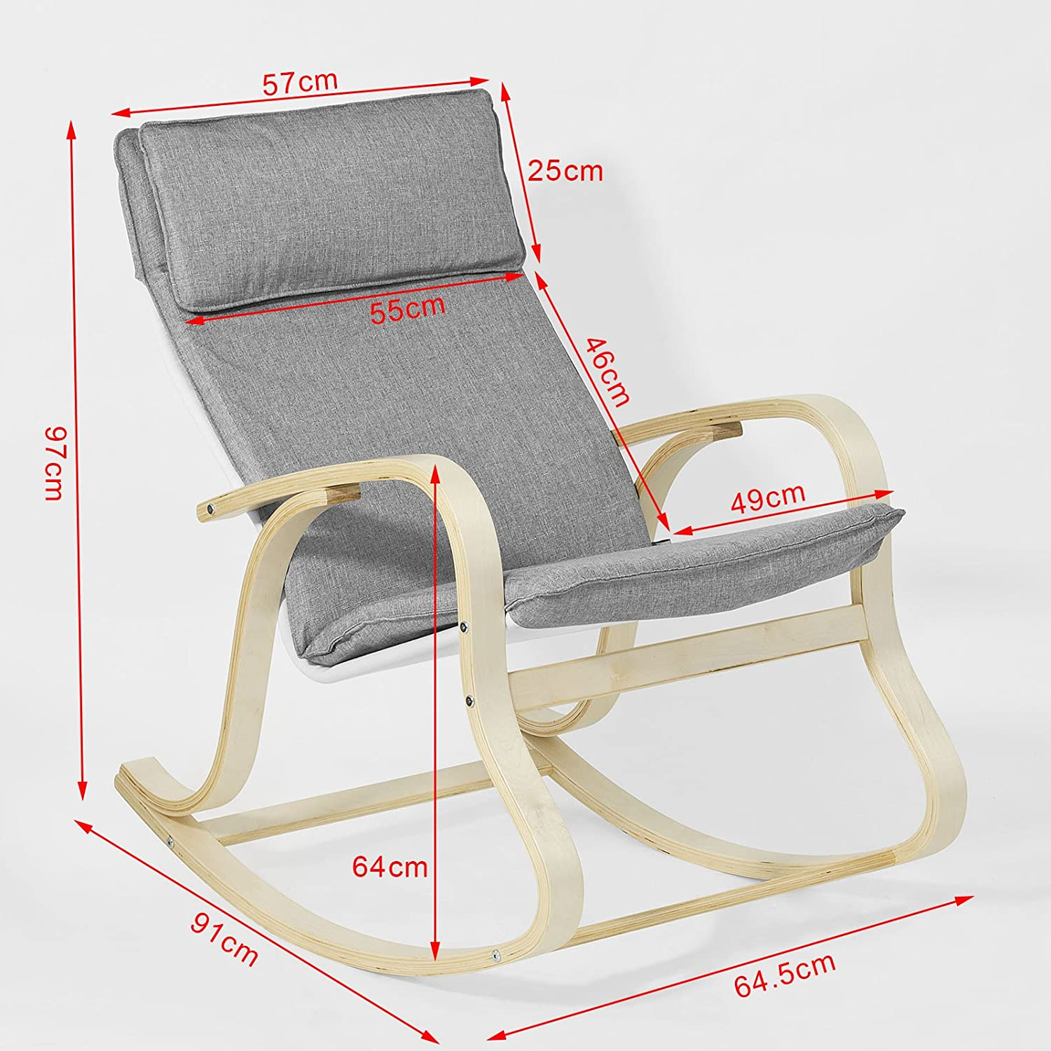 SoBuy Relax Rocking Chair,Lounge Chair Recliners with Removable Fabric Cushion,FST15-DG