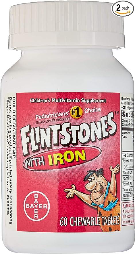Amazon.com: Flintstones Pastillas masticables con hierro 60 ...