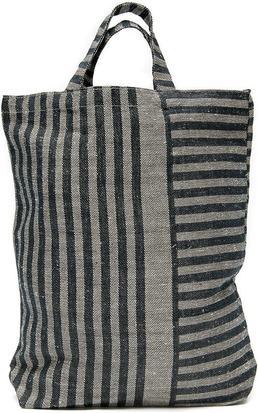 Tote Bag – 40 x 35 x 7 cm – 50% lino/50% algodón – bolsa de la compra – diseño de rayas: Amazon.es: Hogar