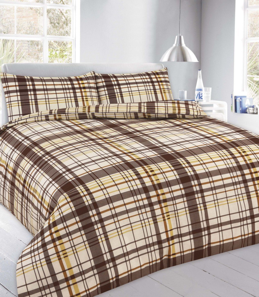 GoldStar Flynn Chocolate Check Double Duvet Polycotton Tartan Quilt Cover Print Modern Bedding Set with Pillowcase NA