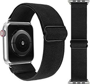 Adjustable Elastic Solo Loop Bands Compatible with Apple Watch 42mm 44mm Stretchy Sport Soft Strap Women Men Replacement Wristband for iWatch Series 6 SE 5 4 3 2 1 Black