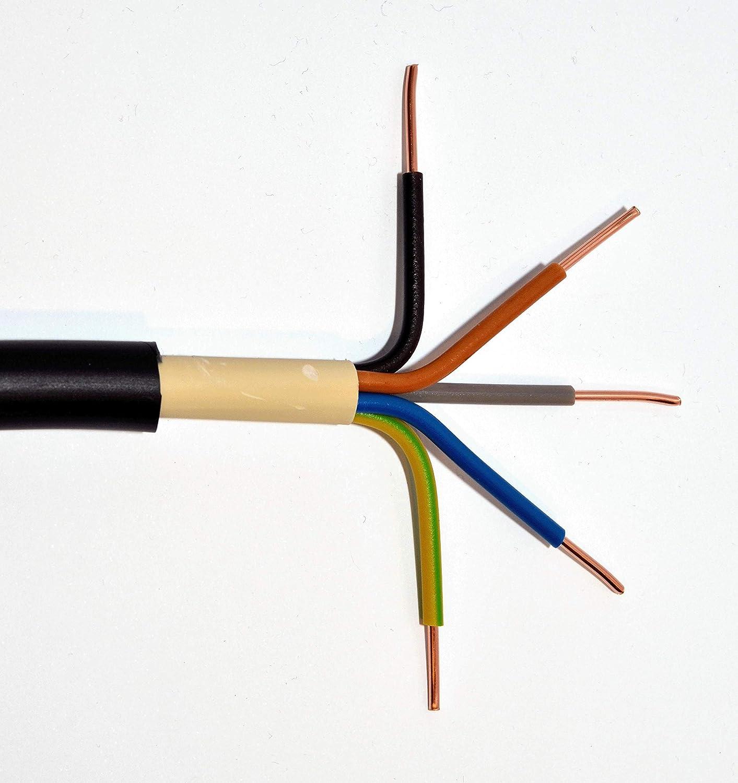 Erdkabel NYY-J 5x10 mm/² RE schwarz Ring 50m 5x10qmm f/ür den Innen und Au/ßenbereich