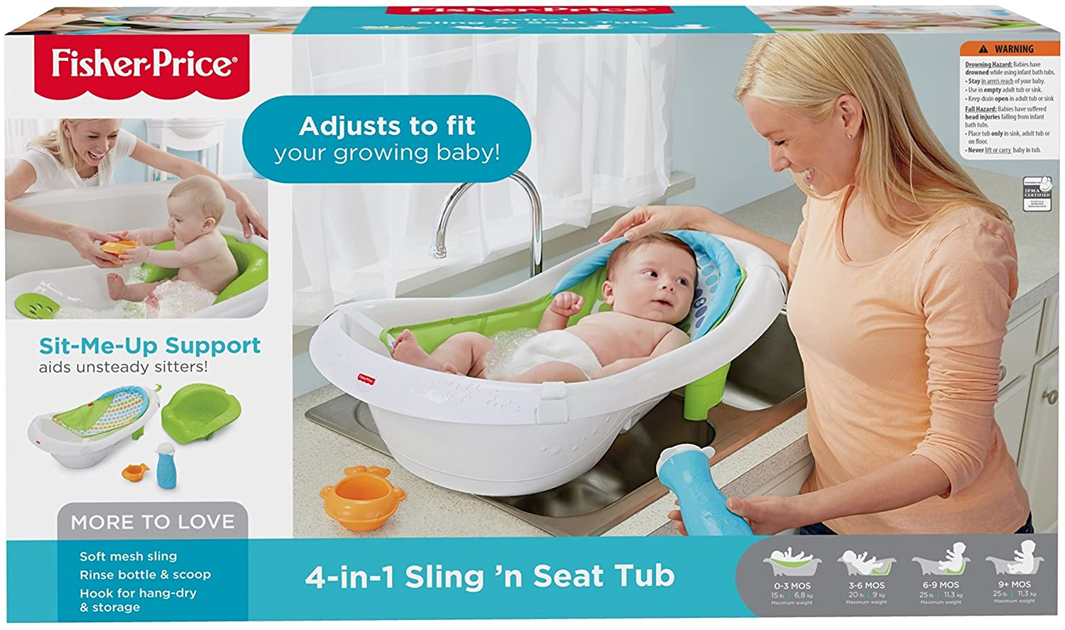 Fisher Price - 4-In-1 Sling \'N Seat Tub, Green: Amazon.ca: Baby