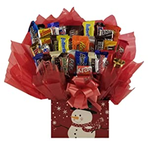 Christmas TopHat Snowman Chocolate Candy Bouquet