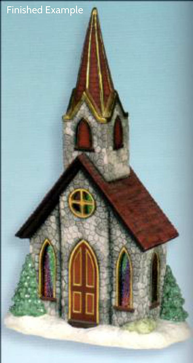 Large Church for Window or Mantle unpainted ceramic bisque ready to be painted Christmas Village
