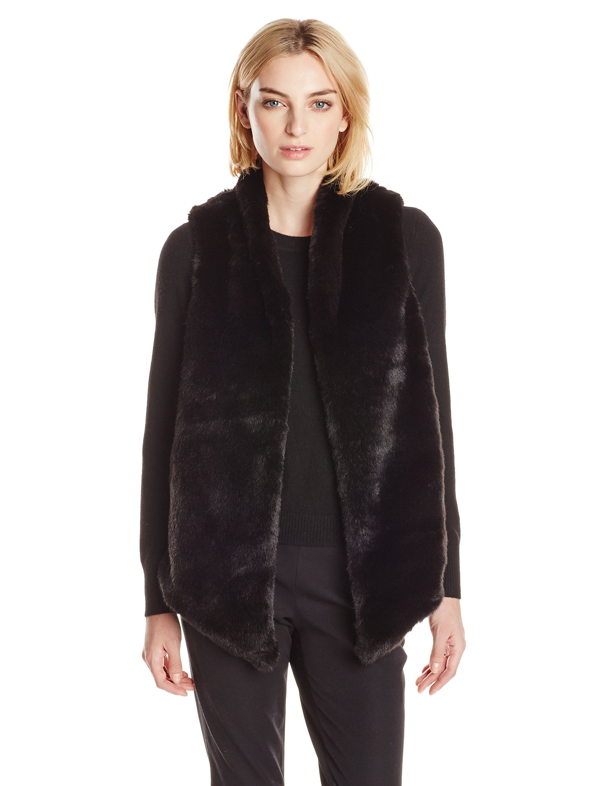 Tart Collections Women's Kya Faux Fur Vest, Black, Medium