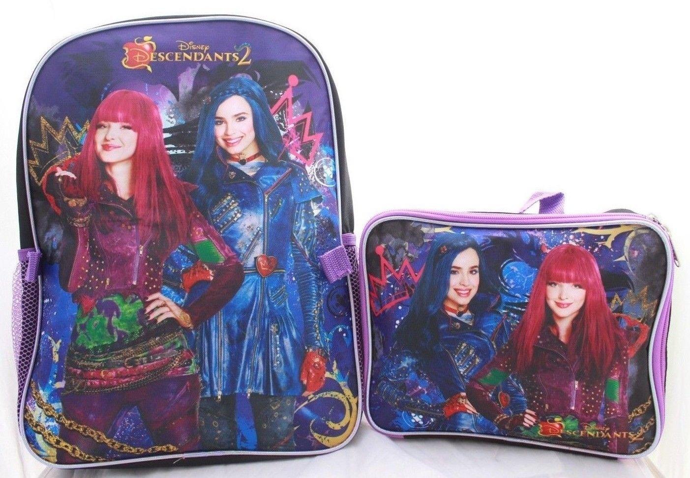 8b1026ed3f2 Galleon - AST Toys Disney Descendants 2 Girls Bookbag School Backpack Lunch  Box Bag Combo SET