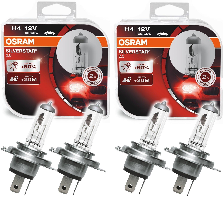 Osram 2X Silverstar 2.0 H4 60/55W +60% +20m 64193SV2-HCB Duo Box O S R A M