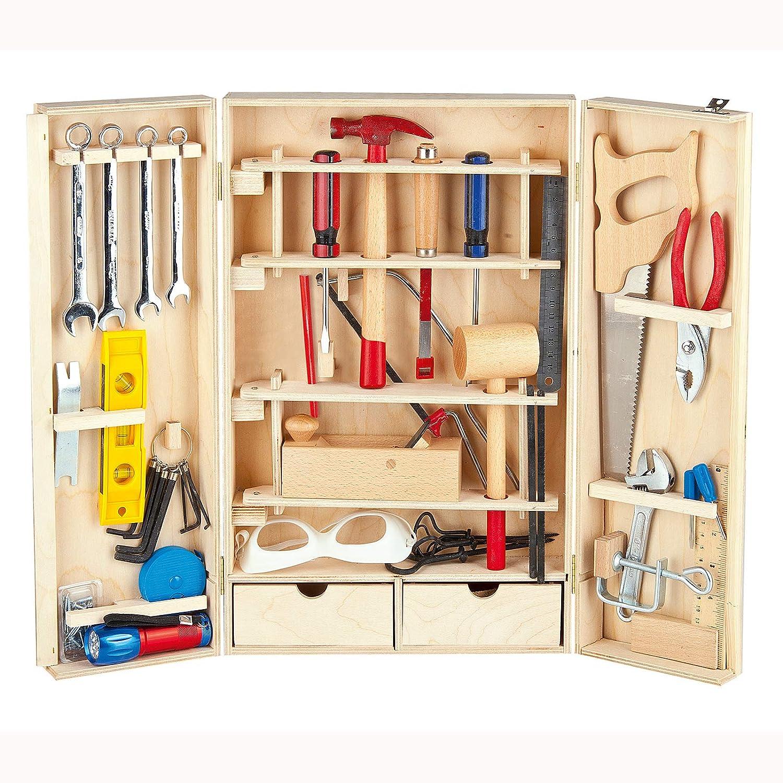 Werkzeugschrank für Kinder - LEOMARK Deluxe Holz Werkzeugkoffer