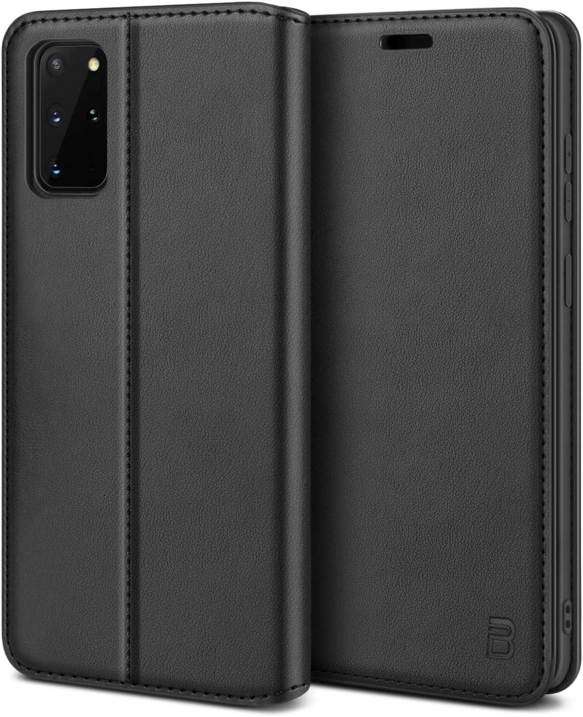 BEZ Funda Samsung S20 Plus, Carcasa Compatible para Samsung Galaxy S20 Plus Libro de Cuero con Tapa y Cartera, Cover Protectora con Ranura para Tarjetas y Billetera, Cierre Magnético, Negro