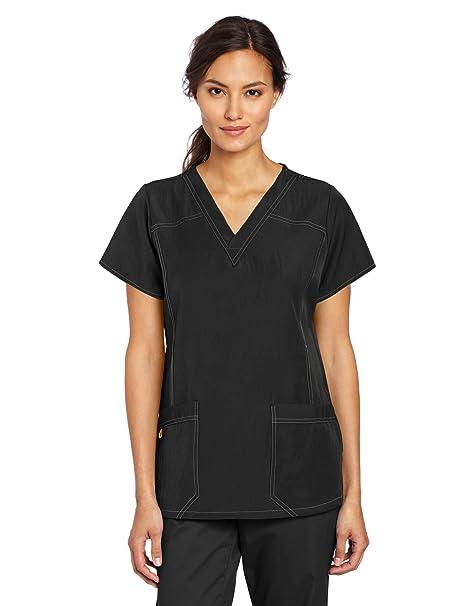 6680b3e96f0 WonderWink Women's Scrubs Four Way Stretch Sporty V-Neck Top, Black, X-