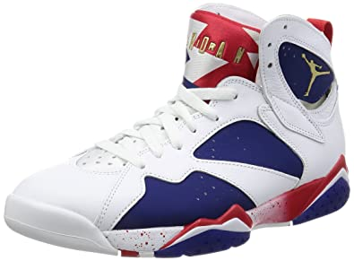 best service 866b0 f2d74 NIKE Mens AIR Jordan 7 Retro, White/MTLC Gold Coin-DEEP Royal Blue, 18