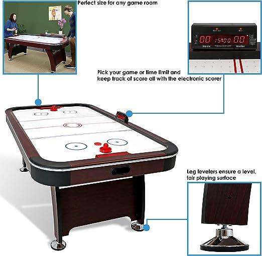 Sunnydaze Mesa de Hockey de Aire de 7 pies – Juego de Arcade para Sala de Juegos – Incluye Marcador eléctrico, empujadores y Pucks: Sunnydaze Decor: Amazon.es: Deportes y aire libre