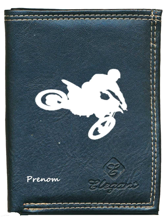 porte monnaie cartes papiers Moto cross personnalis/é avec prenom ou surnom Pochette Etui Petit Portefeuille Homme