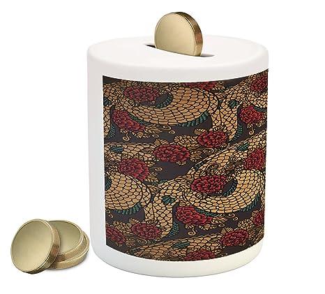Amazon.com: Ambesonne Asian Piggy Bank, Traditional Design ...