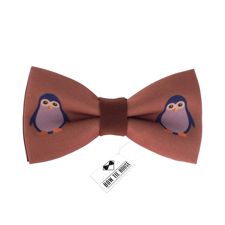Bow Tie House Hipster Barber Shop bow ties pre-tied unisex (Medium, Brown Ties) 08343