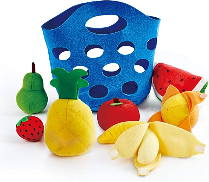 Hape Toddler Fruit Basket |Soft Pretend Food Playset for Kids, Fruit Toy Basket Includes Banana, Apple, Pineapple, Orange and More
