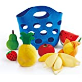 Hape Toddler Fruit Basket |Soft Pretend Food Playset for Kids, Fruit Toy Basket Includes Banana, Apple, Pineapple…