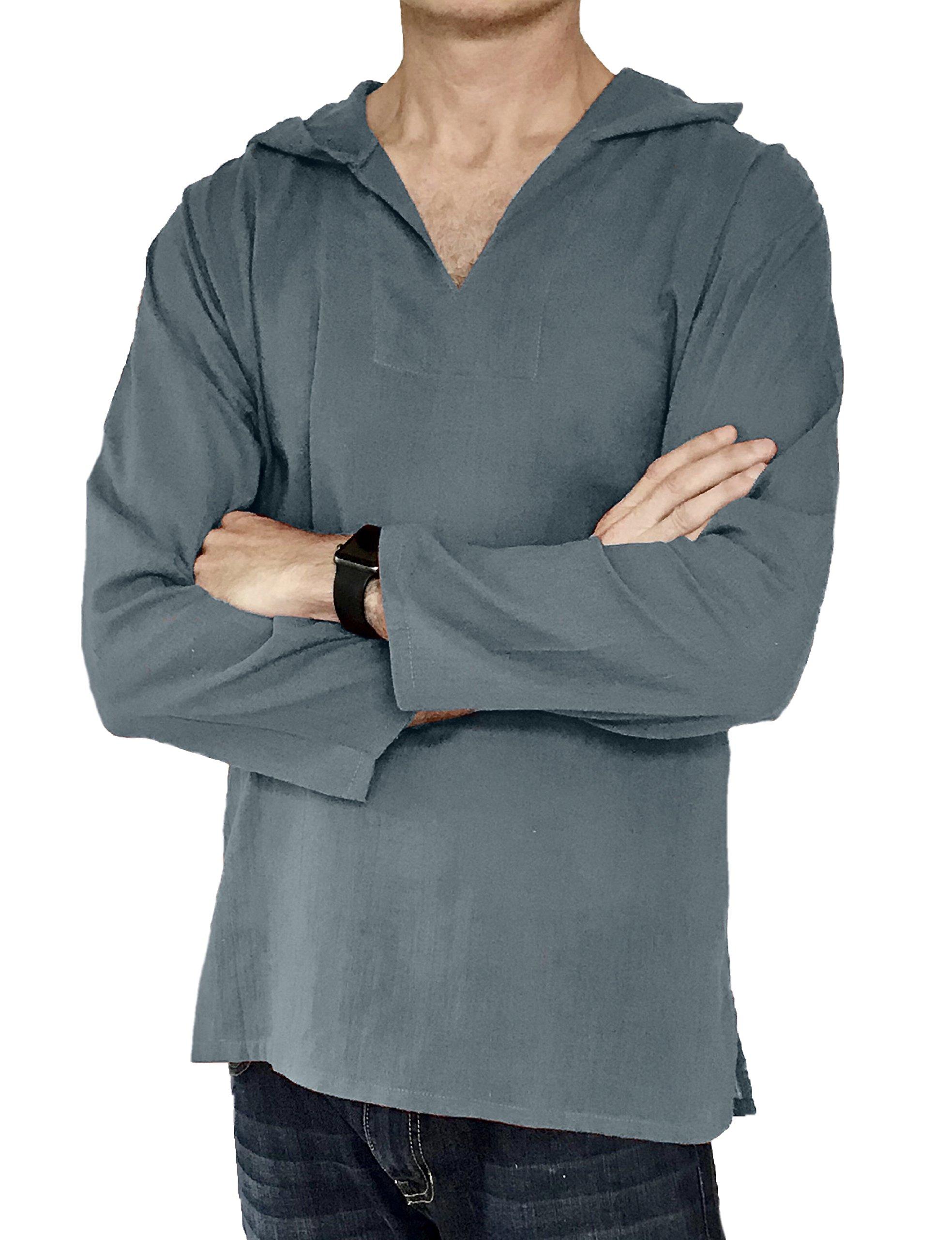 Love Quality Men's Hoodie Hippie Shirts Beach 100% Soft Cotton Top Yoga Shirt Boho (X-Large, Grey)