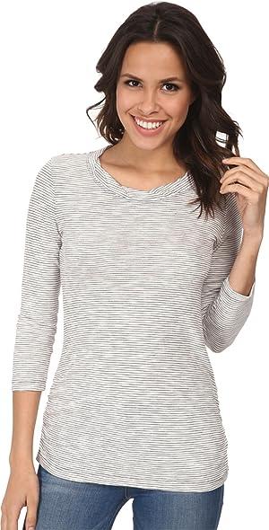 Mod-o-doc Women's Slub Twisted Scoop Neck Side Shirred Tee Cinder T-Shirt