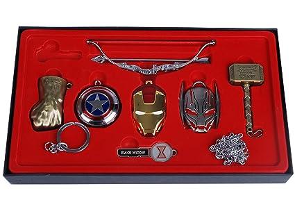 Juego de 7 llaveros con diseño de Hulk Thor de Los Vengadores, de hierro, Hawkeye