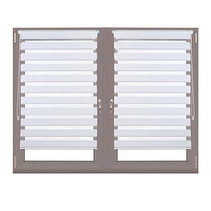 2x Doppelrollo Klemmfix im Set, Seitenzugrollo ohne Bohren, Duo-Rollo zum Klemmen, Klemmrollo, 81 x 150 cm, weiß