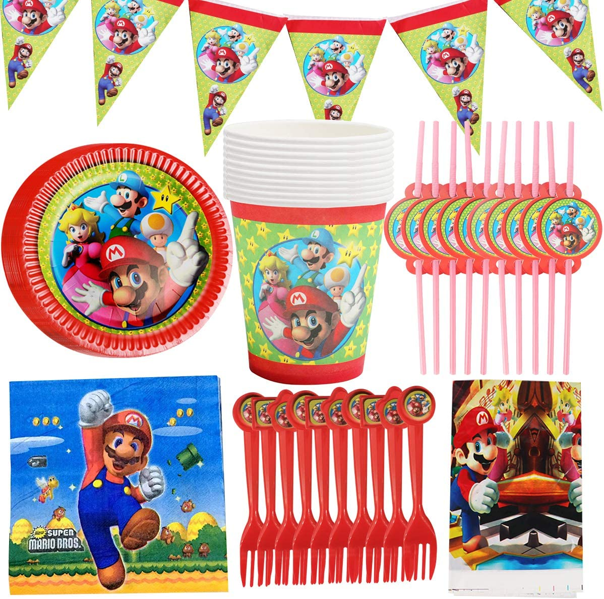 WENTS Gebutstag Party Set 62-teiliges Party-Set Super Mario Teller Becher Servietten Geburtstag Dekoration Set Happy Birthday Deko Bunte Partykette Girlande Banner