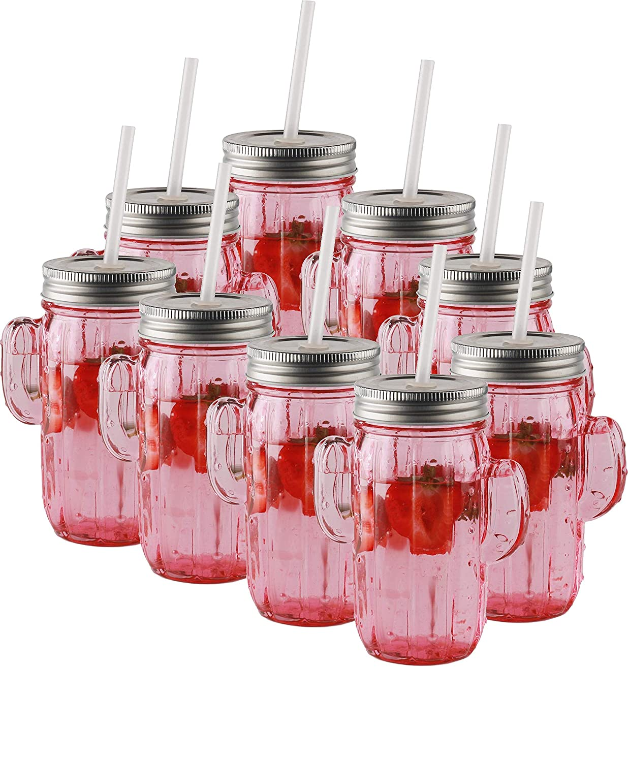 Circleware 06364/AM Pink Mason Jar Drinking Glasses with Metal Lids and Hard Plastic Straws Huge Set of 9 Glassware for Water Beer and Kitchen & Home Decor Bar Dining Beverage Gifts 15.5 oz Cactus