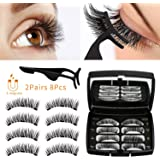 Allnice Magnetic Eyelashes Dual Magnets False Eyelashes Reusable 3D No Glue 3 Fake Lashes Extension with Tweezers for Women M