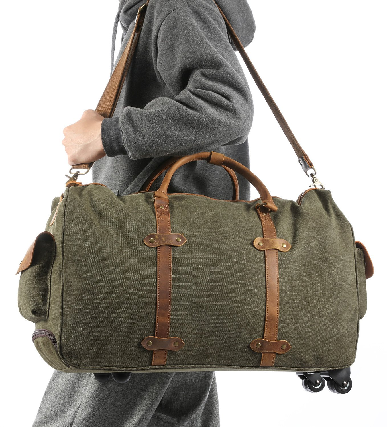 Kattee Rolling Duffle Bag with Wheels Canvas Travel Luggage Duffel Bag 50L (Army Green) by Kattee (Image #7)
