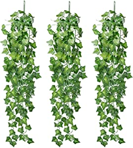 Omldggr 3 Pieces Artificial Hanging Ivy Vine 2.95 Feet Artificial Hanging Plants Wall Greenery for Indoor Outside Home Garden Office Wedding Decor