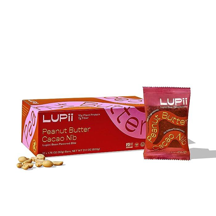 LUPii - Lupini Bean Protein Bars - Peanut Butter Cacao Nib - Healthy, Gluten-Free, Vegan, Whole-Food