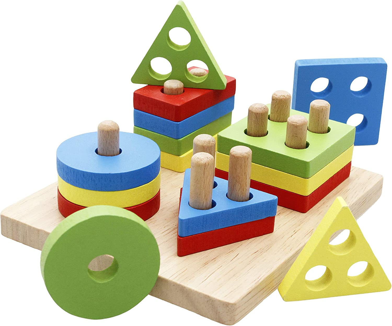 Montessori wood toy stacking puzzle set 300 pcs wood puzzle game family puzzle