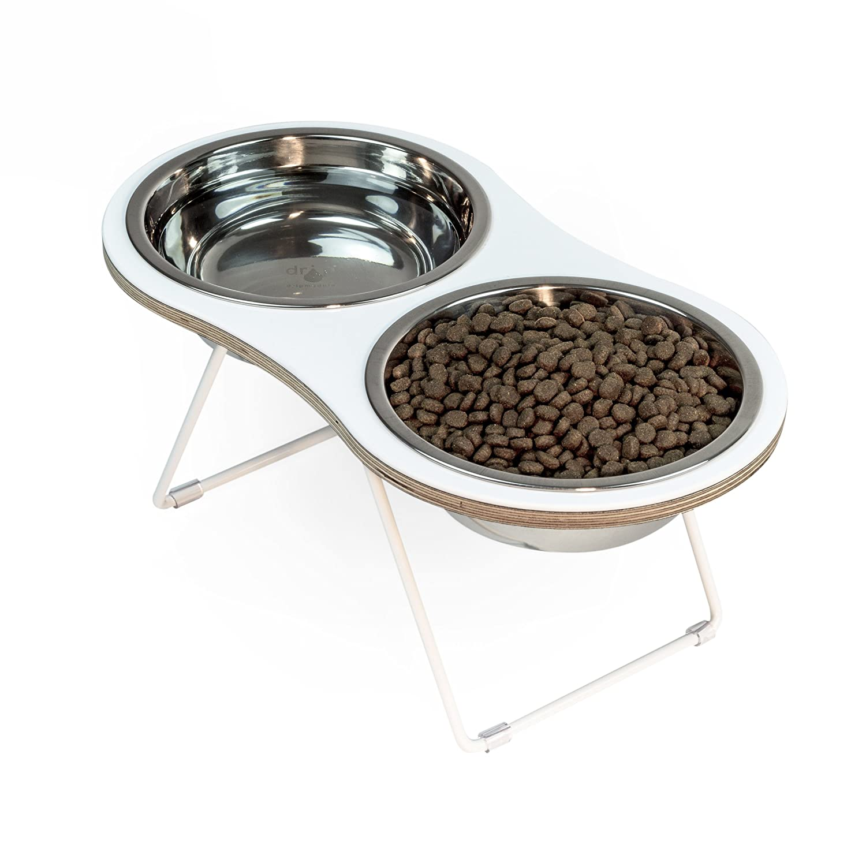 Drip Module 0338-WH Dripmodule Modern Peanut 2 Pet Feeder, Large, White