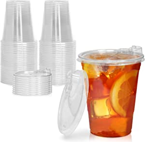 [50 Pack] Disposable Strawless Plastic Cups with Lids - 16 Oz Clear Plastic Cups and Sippy Cups Lids, Perfect Eco-Friendly To Go Cups for Iced Coffee, Smoothies, Soda Party Drinks and Cafe Essentials