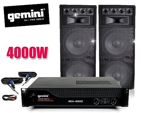 Pack sono DJ completo con amplificador Gemini 4000 W + altavoces BM Sonic 2 x 1000