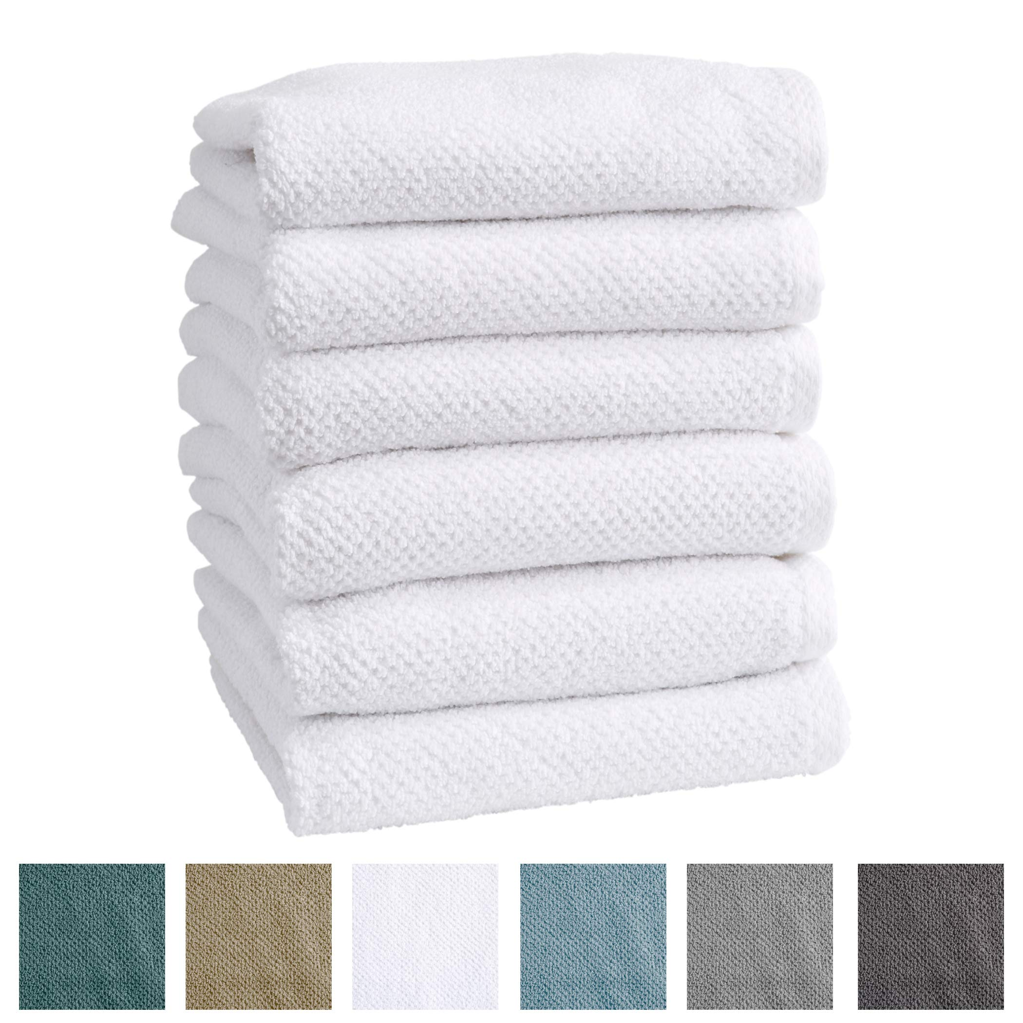 Great Bay Home 6-Pack 100% Cotton, Ultra-Absorbent Popcorn Hand Towels. 6 Elegant Solid Colors. Popcorn Weave. Acacia Collection. (Hand 6pk, Optic White)