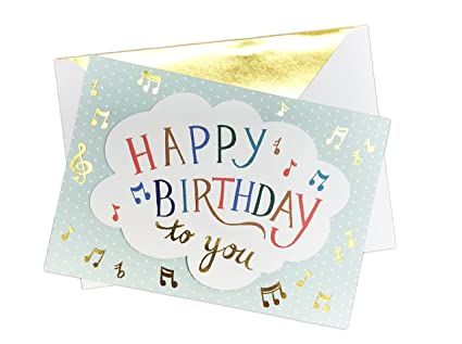 Musical Themed Happy Birthday To You Embellished 5quot X 7quot Music Note Greeting
