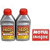 Motul (2 Pack) 100949 RBF 600 DOT 4 100% Synthetic Factory Line Racing Brake Fluid with Premium Motul Sticker (2)
